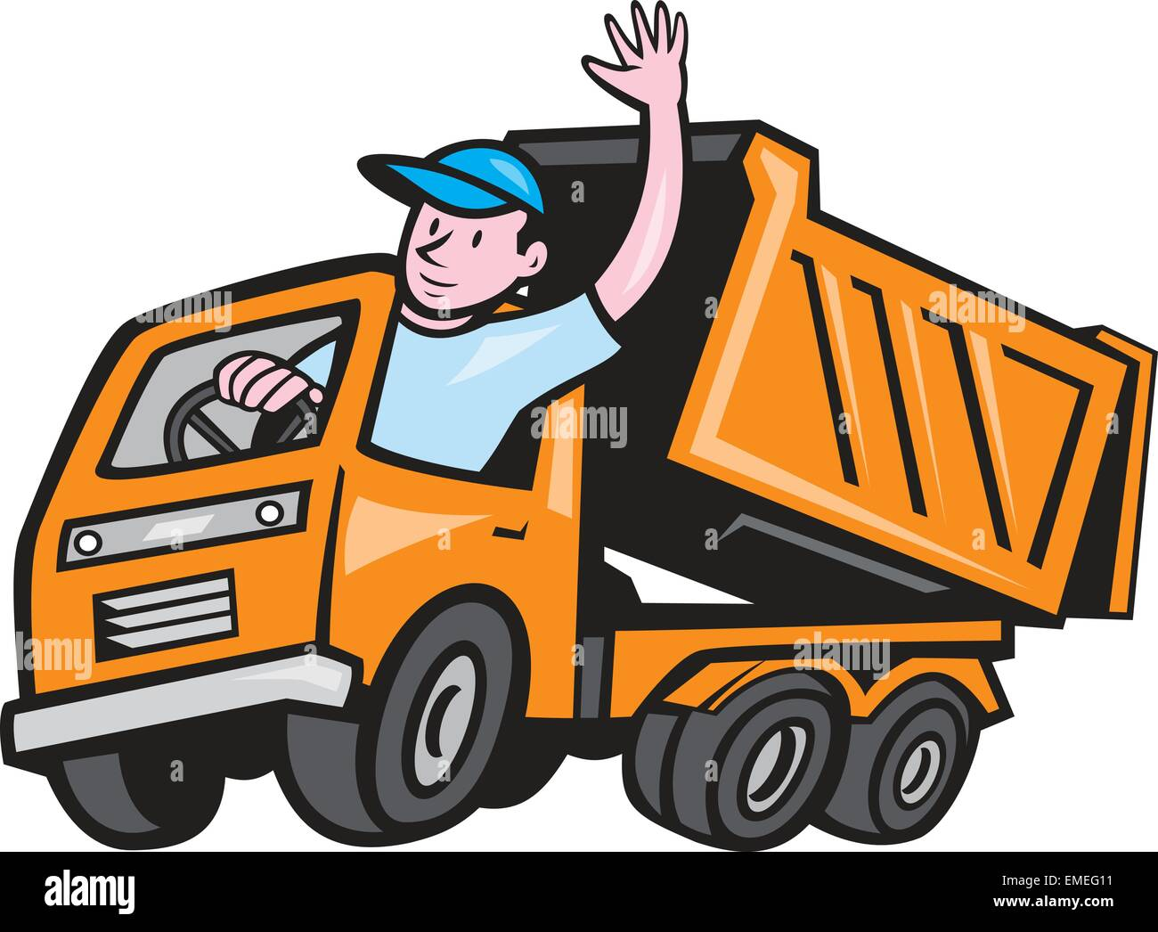 dump truck driver waving cartoon stock vector art illustration vector image 81454493 alamy. Black Bedroom Furniture Sets. Home Design Ideas