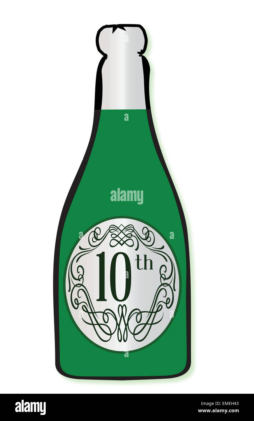 10th Celebration Wine Bottle - Stock Vector