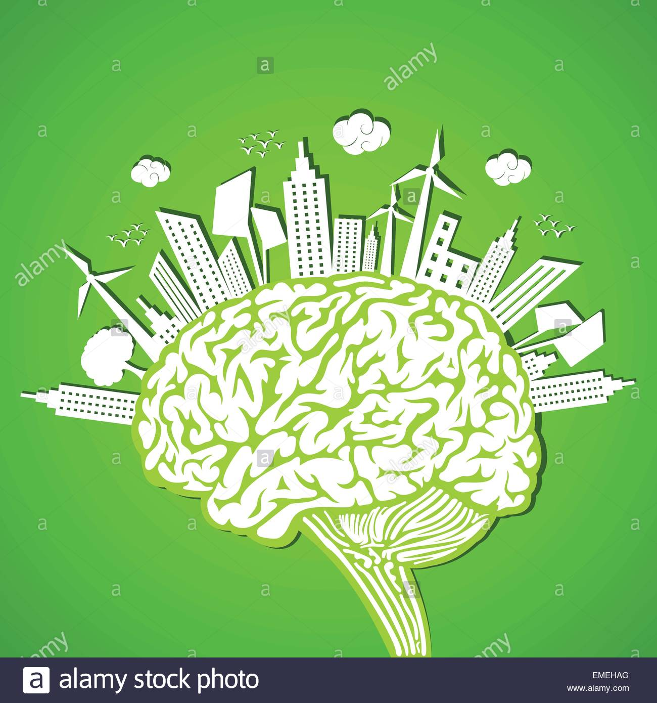 Ecology concept with brain - Stock Image