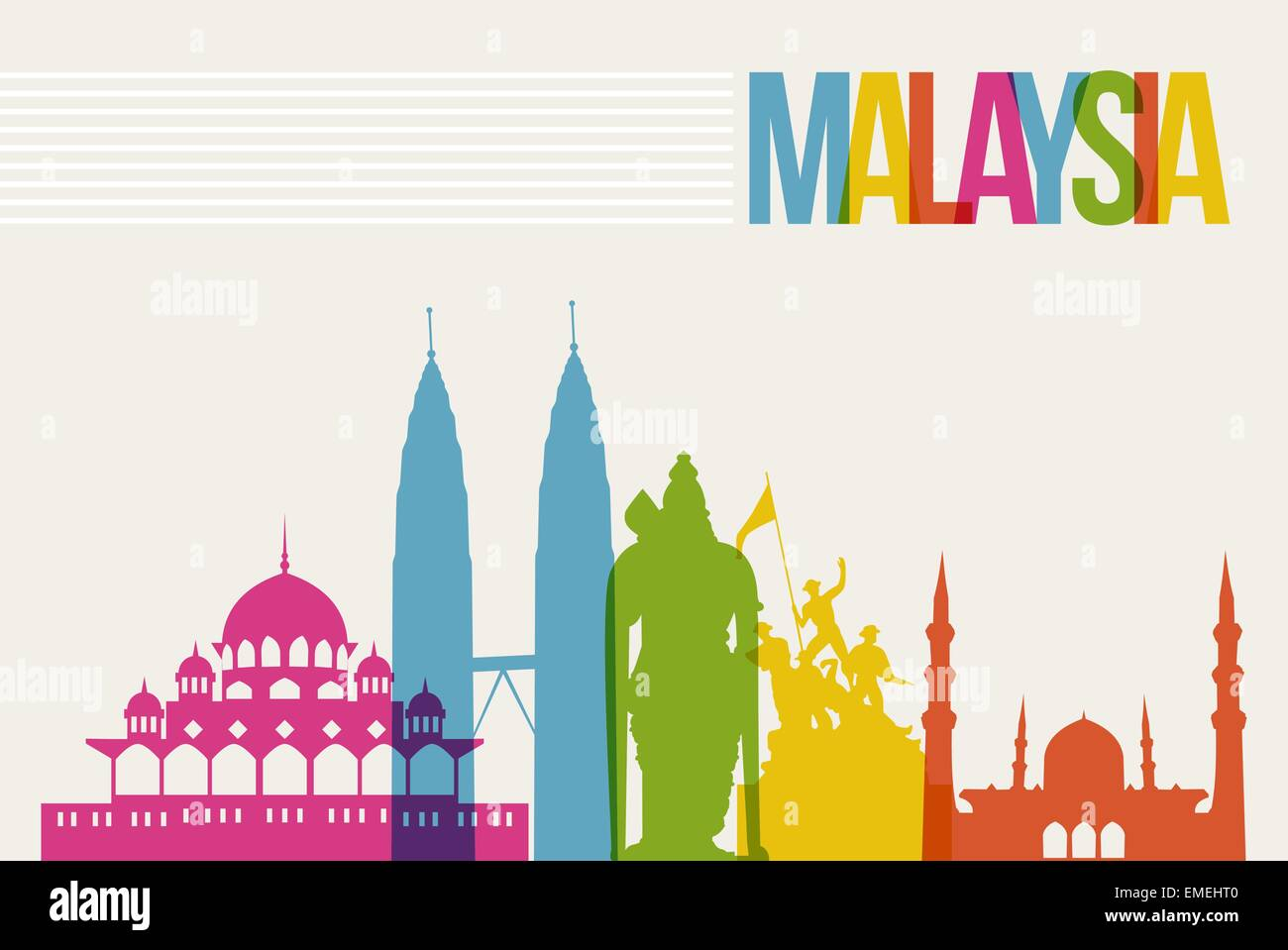 Travel Malaysia destination landmarks skyline background Stock Vector