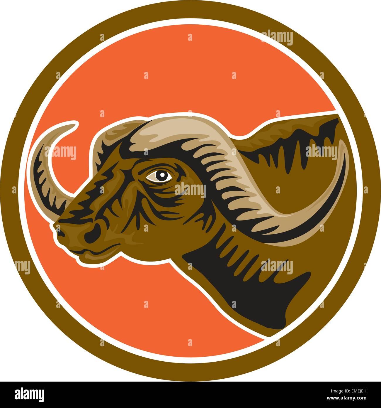 5ff4209b7 African Buffalo Head Side Circle Retro Stock Vector Art ...