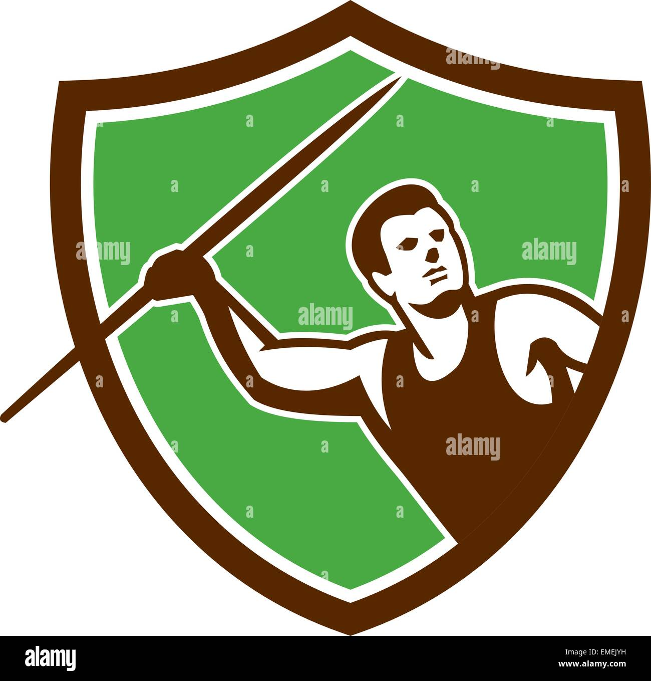 Javelin Throw Track and Field Athlete Shield Stock Vector