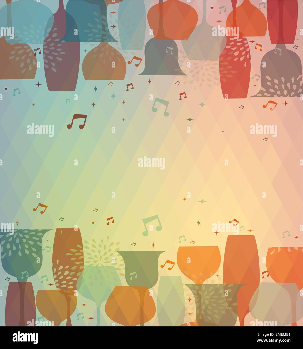 Cocktail Party Invitation Card Glass Drink Abstract Stock