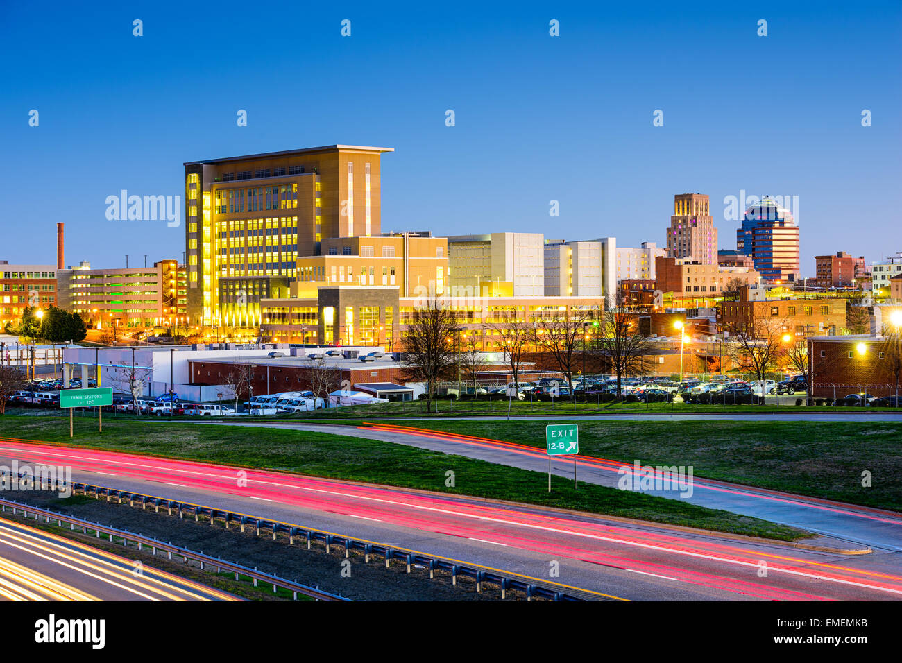 Durham, North Carolina, USA downtown city skyline. Stock Photo