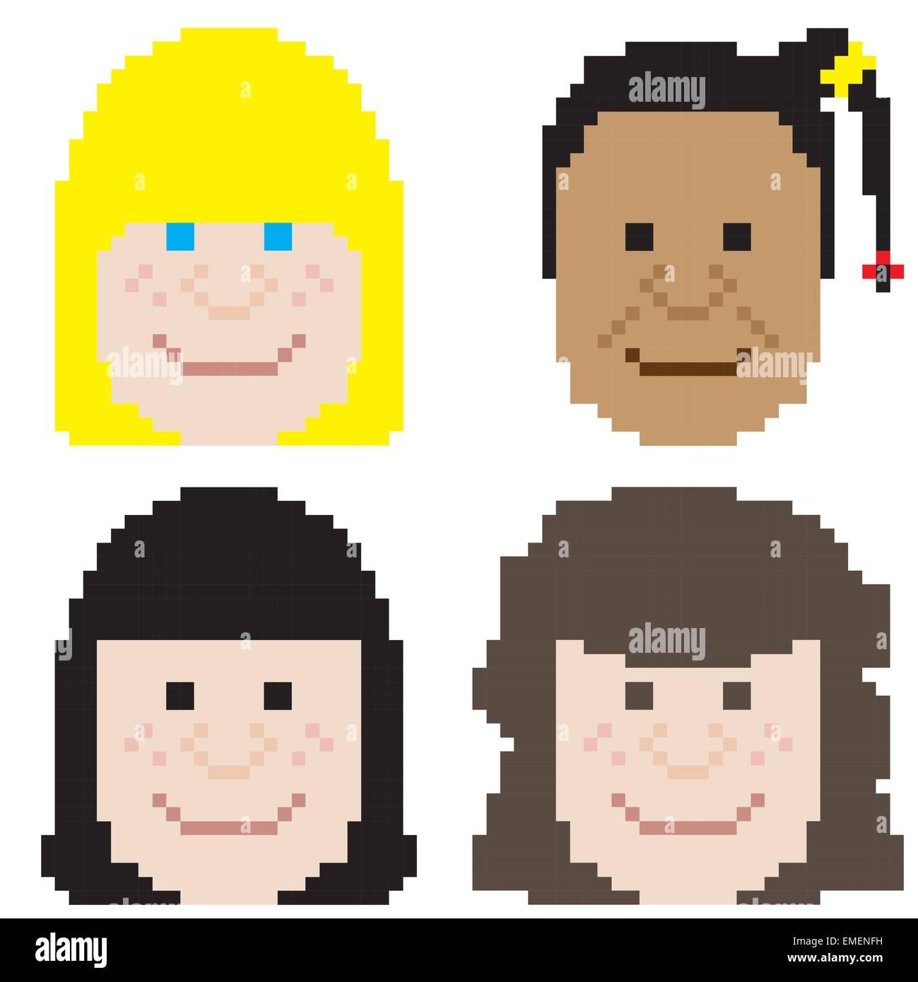 Girl Face Pixel Art Stock Vector Art Illustration Vector