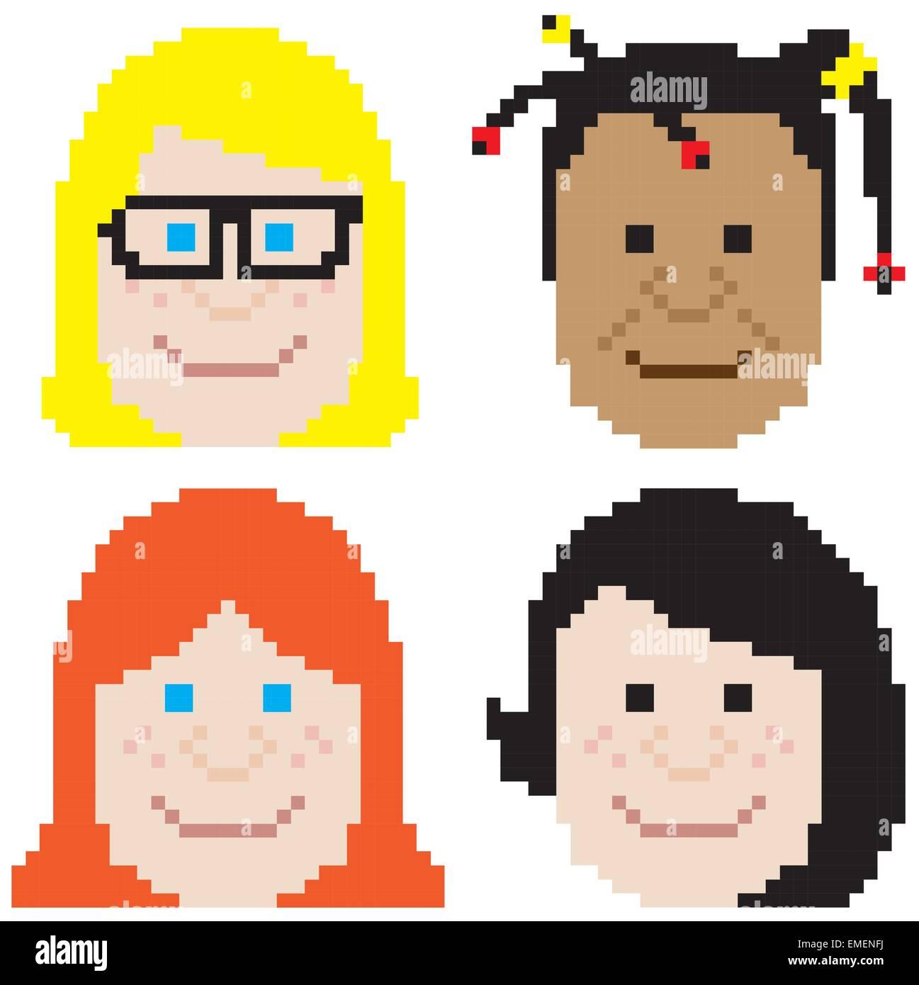 girl face pixel art - Stock Vector