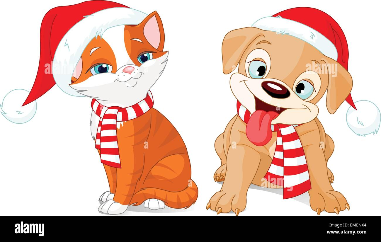 Christmas Puppy And Kitten Stock Vector Image Art Alamy