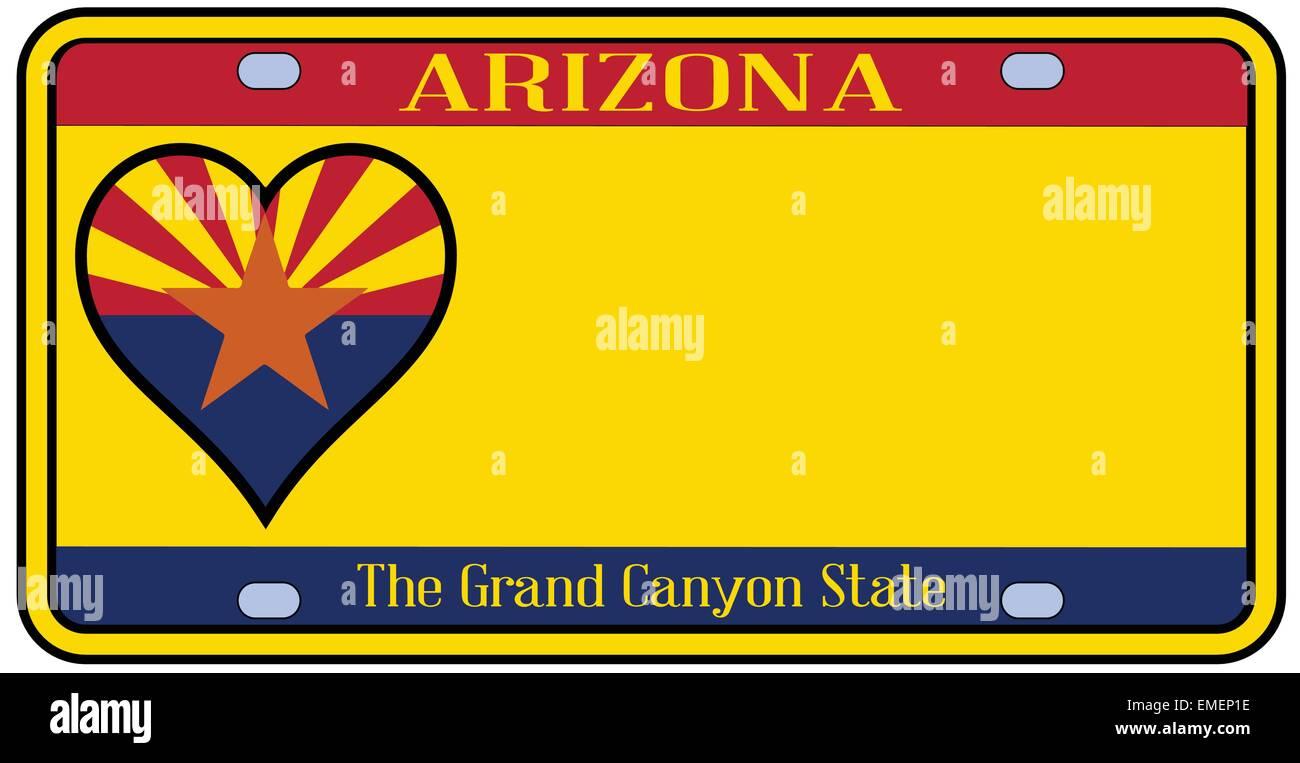 ARIZONA State Flag Custom License Plate Arizonan State Emblem Version 2