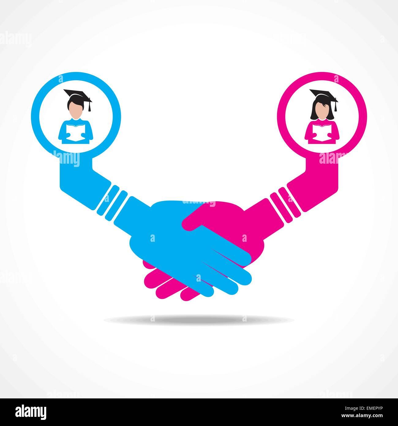 businessmen handshake between educated men and women stock vector - Stock Image