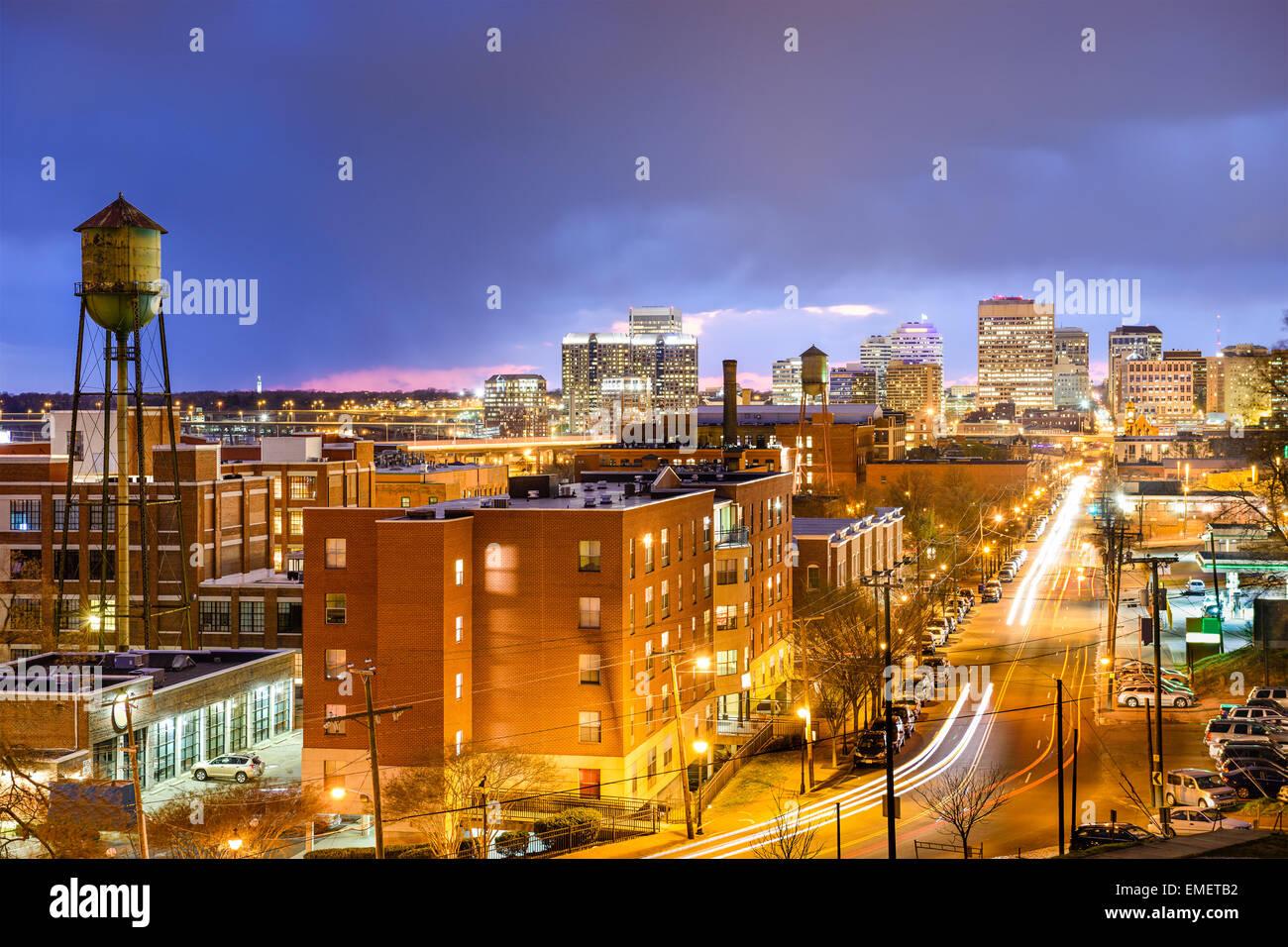 Richmond, Virginia, USA downtown cityscape over Main St. - Stock Image