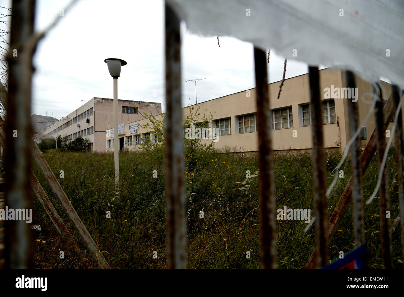 Athens, Greece. 20th Apr, 2015. A view of Korydallos Prison inside which the trial of 69 members of the Greek ultra - Stock Image