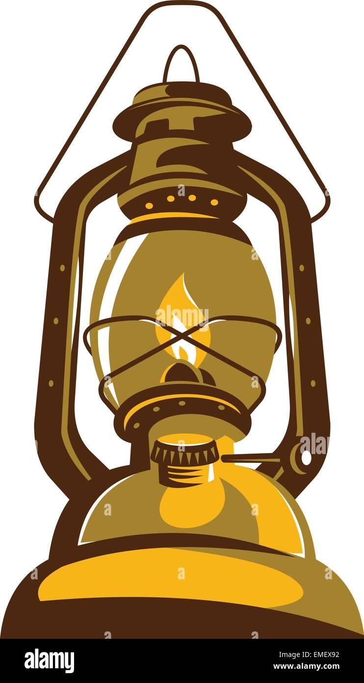 kerosene oil lamp retro - Stock Vector