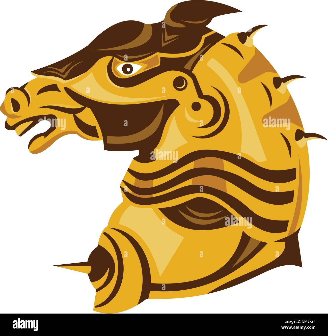 Knight War Horse Side Armor Retro Stock Vector Image Art Alamy