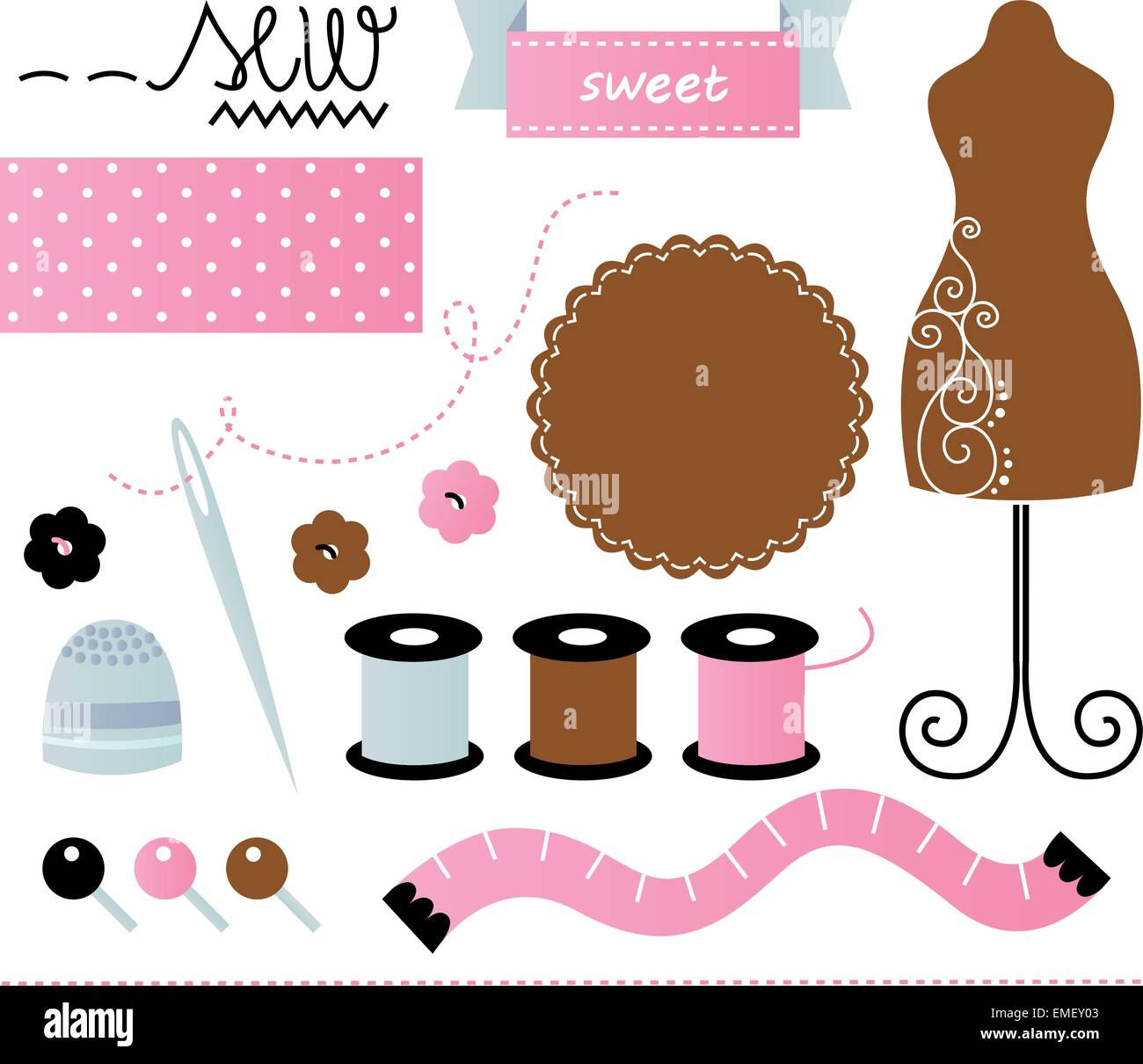 Sewing set isolated on white - pink and brown - Stock Vector