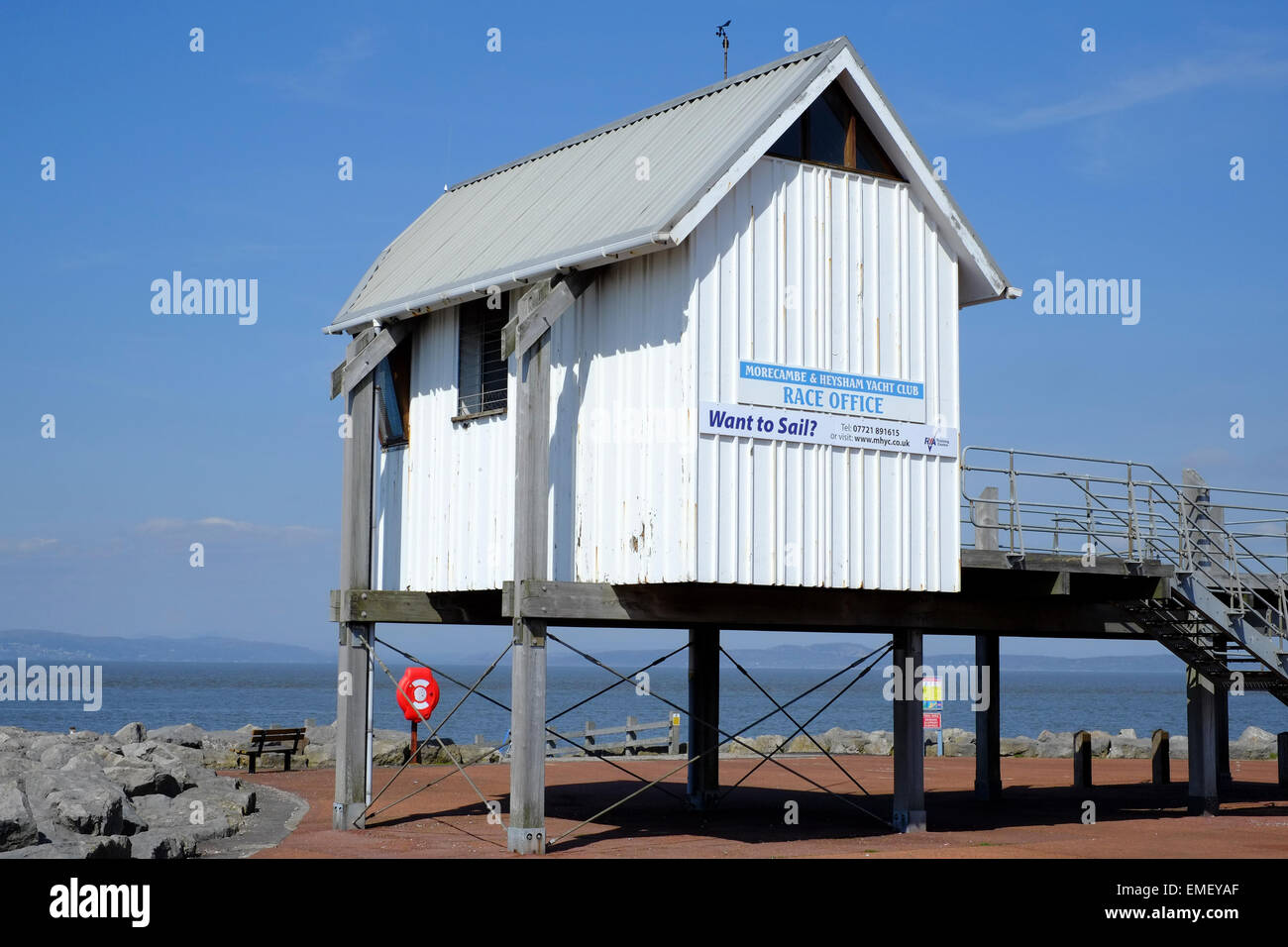 Morecambe and Heysham Yacht Club Race Office overlooks Morecambe Bay Stock Photo