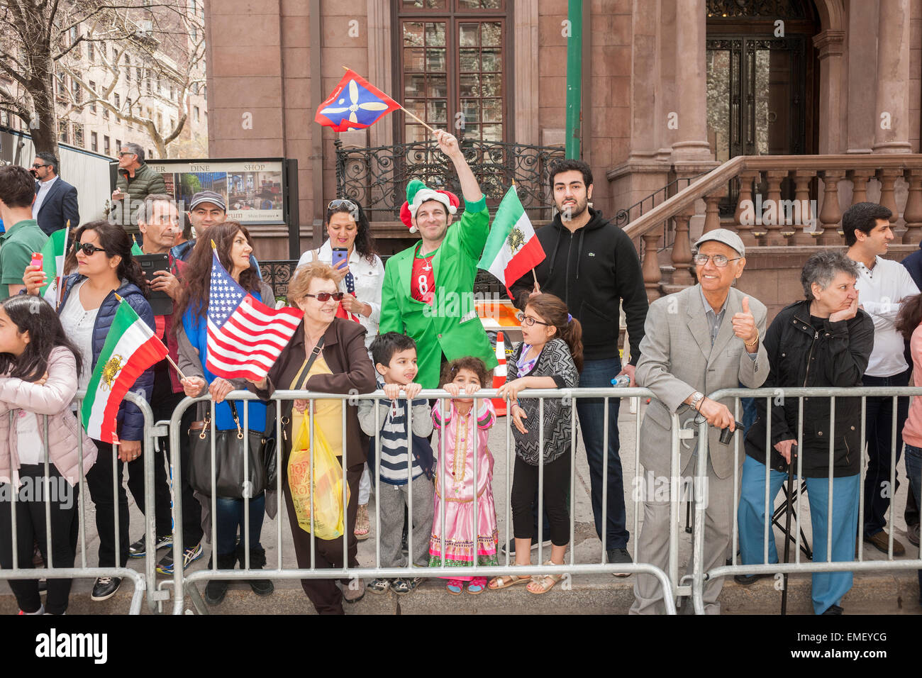 Spectators line Madison Avenue at the 12th annual Persian Parade in New York on Sunday, April 19, 2015. The parade Stock Photo