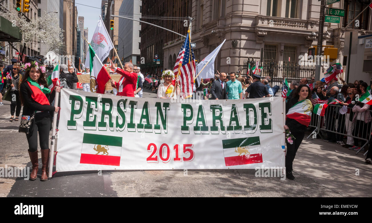 Iranian-Americans and supporters at the 21th annual Persian Parade on Madison Ave. in New York on Sunday, April - Stock Image