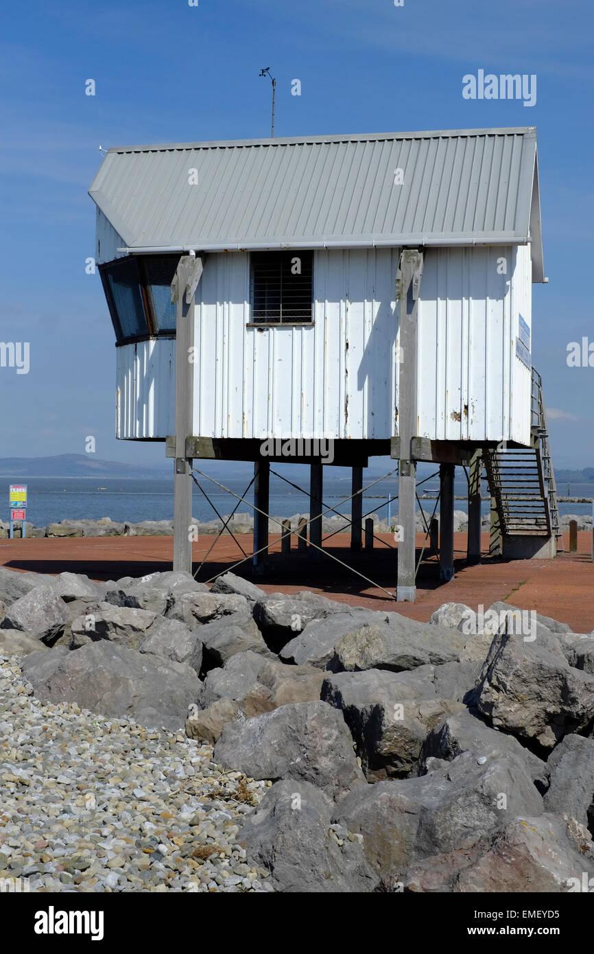 Morecambe and Heysham Yacht Club Race Office overlooks Morecambe Bay Stock Photo