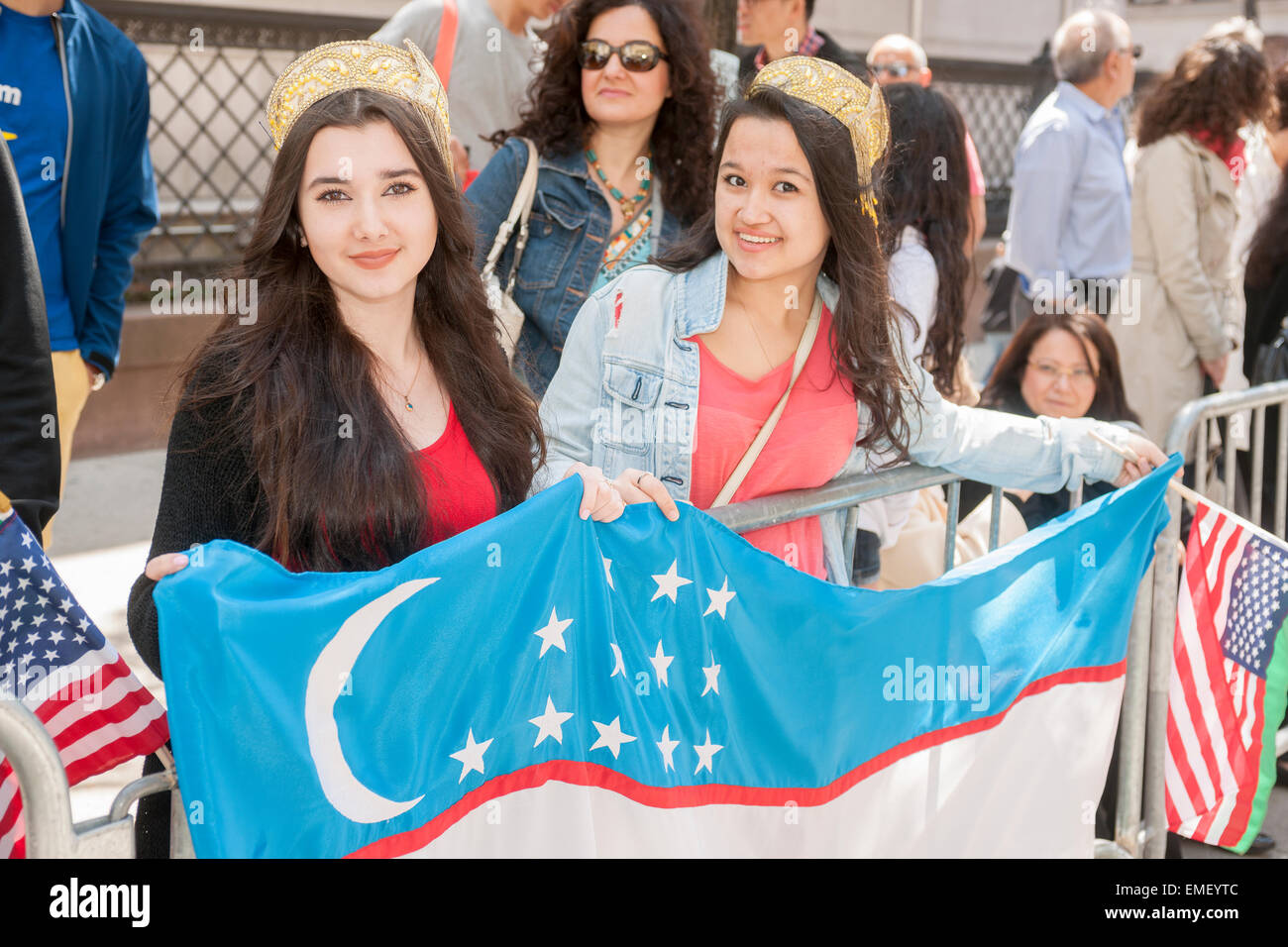 Spectators line Madison Avenue at the 12th annual Persian Parade in New York on Sunday, April 19, 2015. The parade - Stock Image
