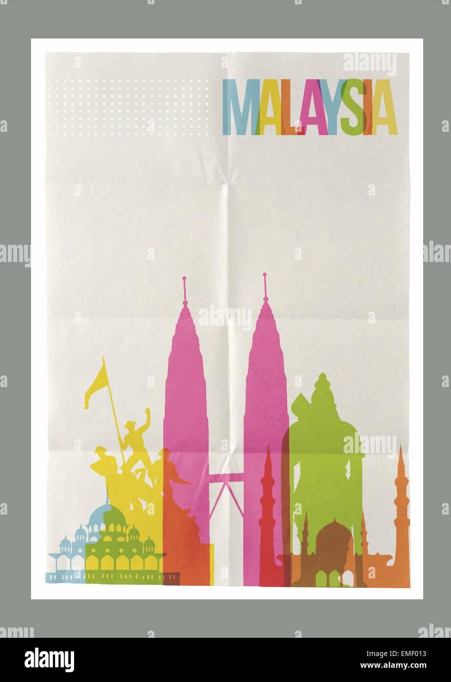 Travel Malaysia landmarks skyline vintage poster - Stock Vector