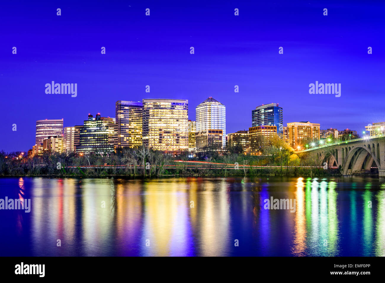 Rosslyn, Arlington, Virginia, USA city skyline on the Potomac River. - Stock Image