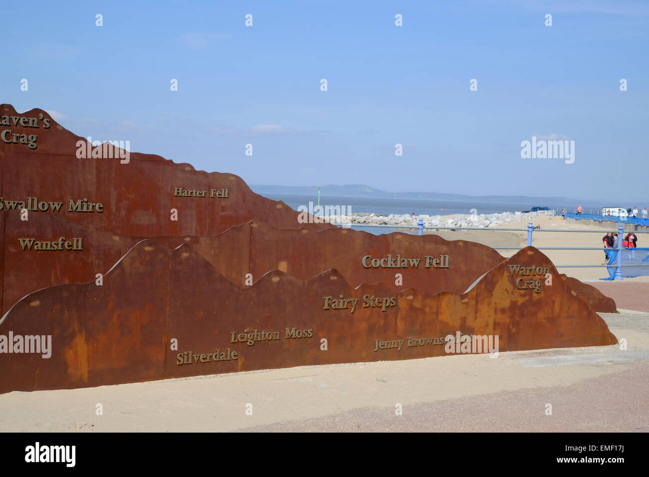 Morecambe Lancashire:  A large display on the promenade provides information on the views of the Lakeland fells - Stock Image