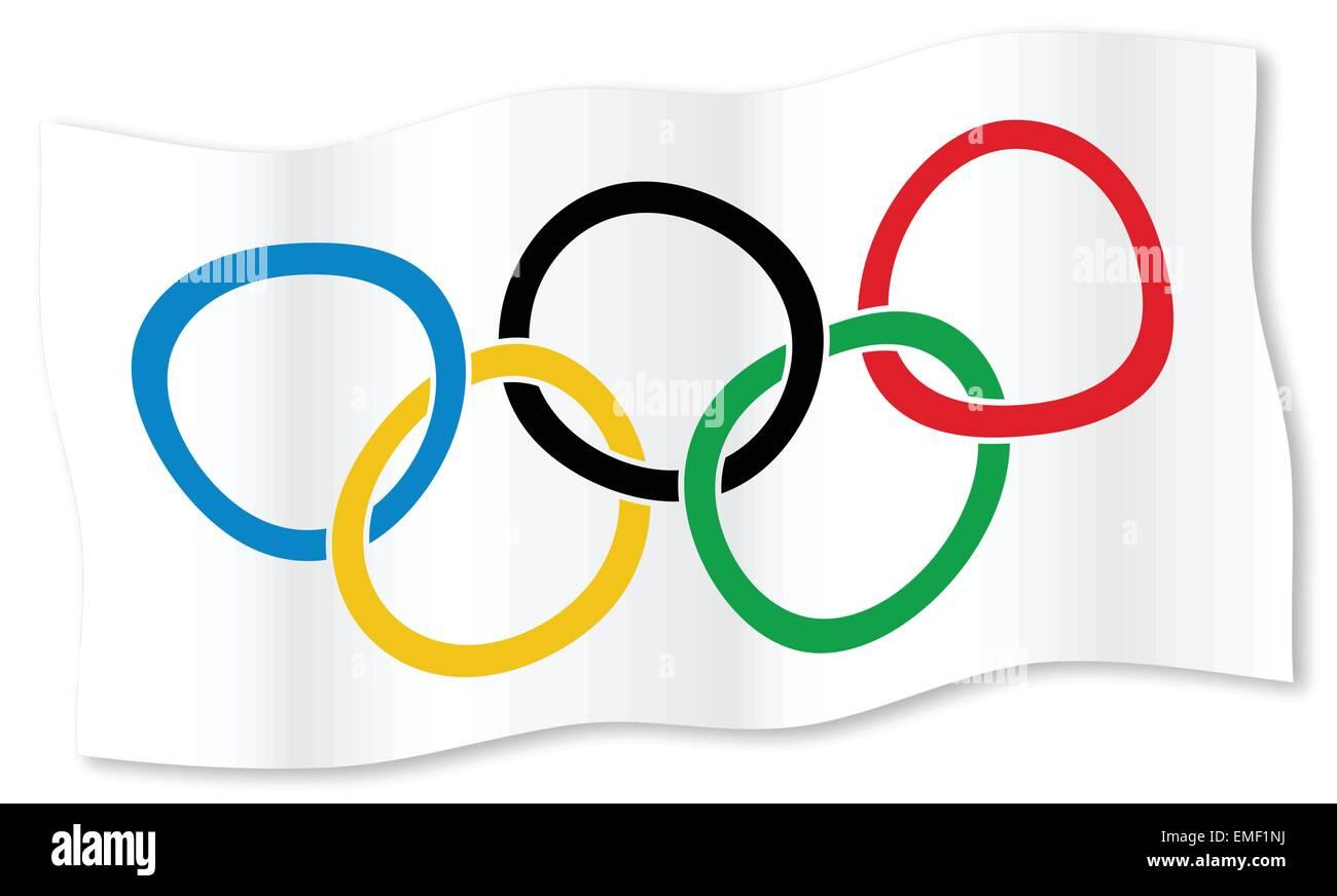 Olympic Waving Flag - Stock Vector