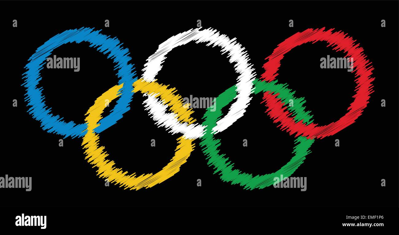 Blackboard Olympic Rings - Stock Vector