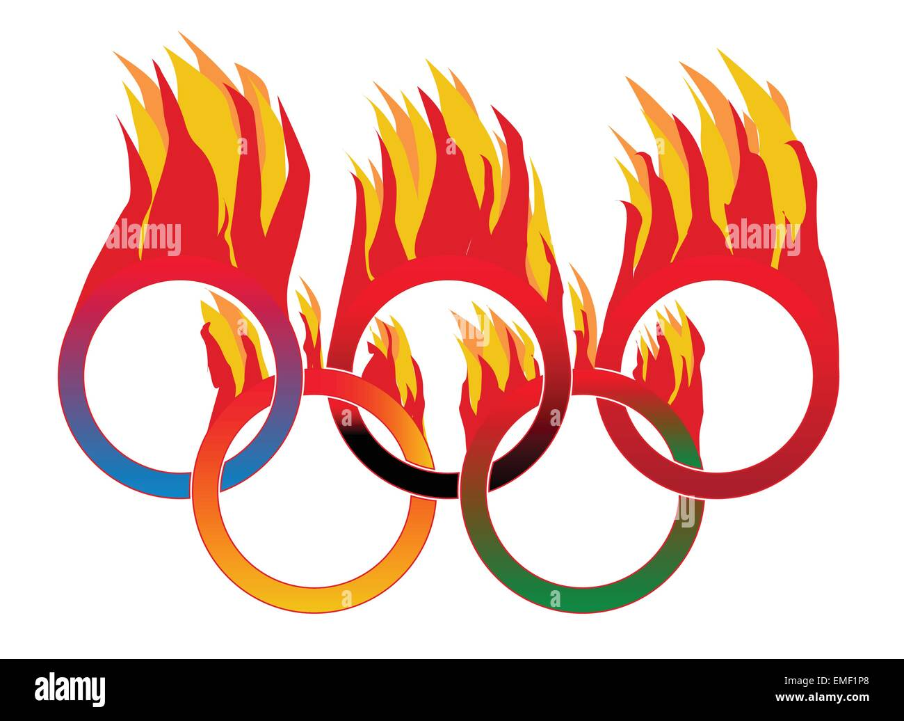 Flame Olympic Rings - Stock Vector