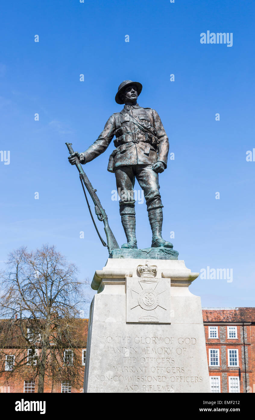Bronze statue of a rifleman of the King's Royal Rifle Corps near Winchester Cathedral, Winchester, Hampshire, UK Stock Photo