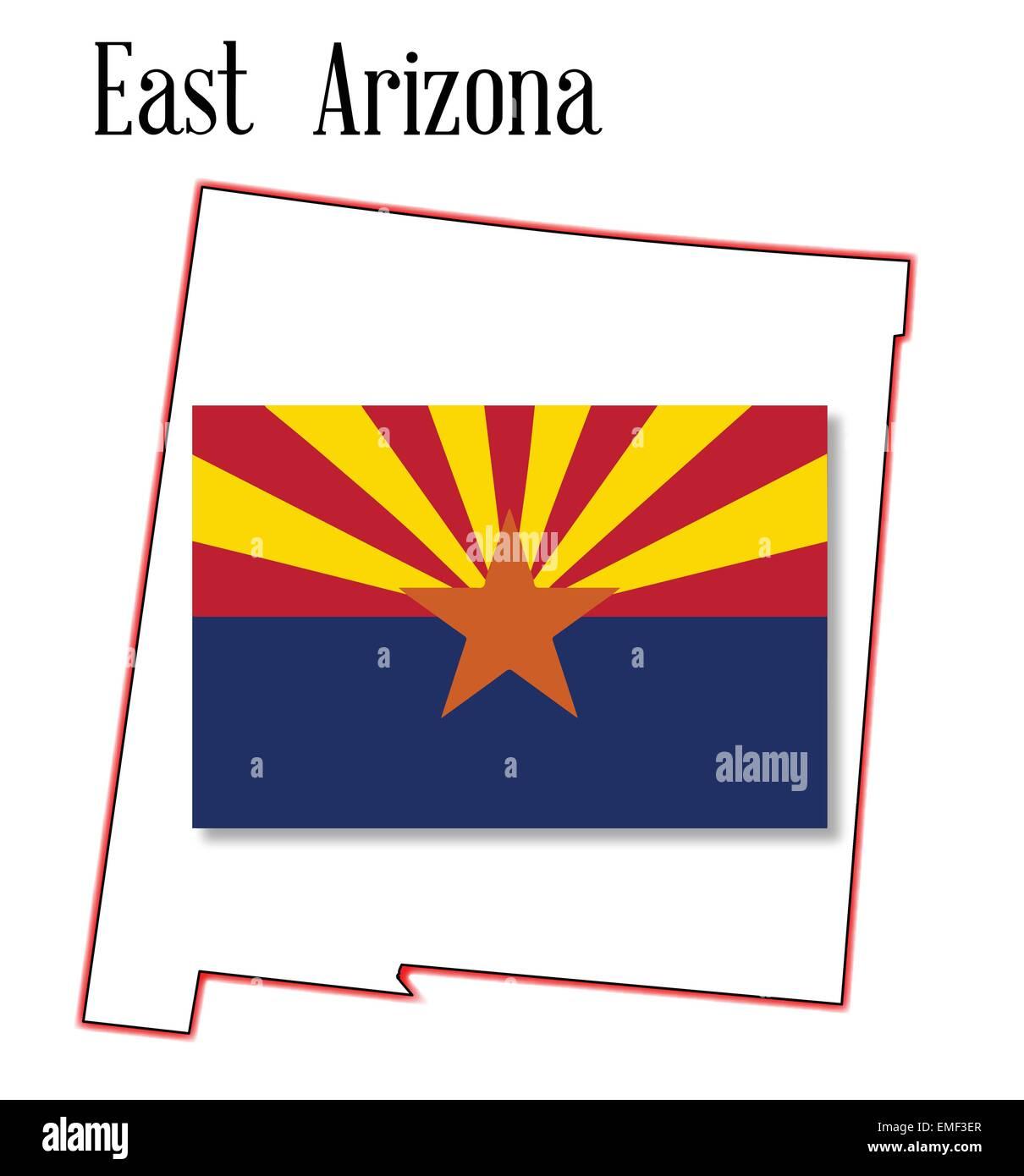 Map Of East Arizona.East Arizona Map And Flag Stock Vector Art Illustration Vector