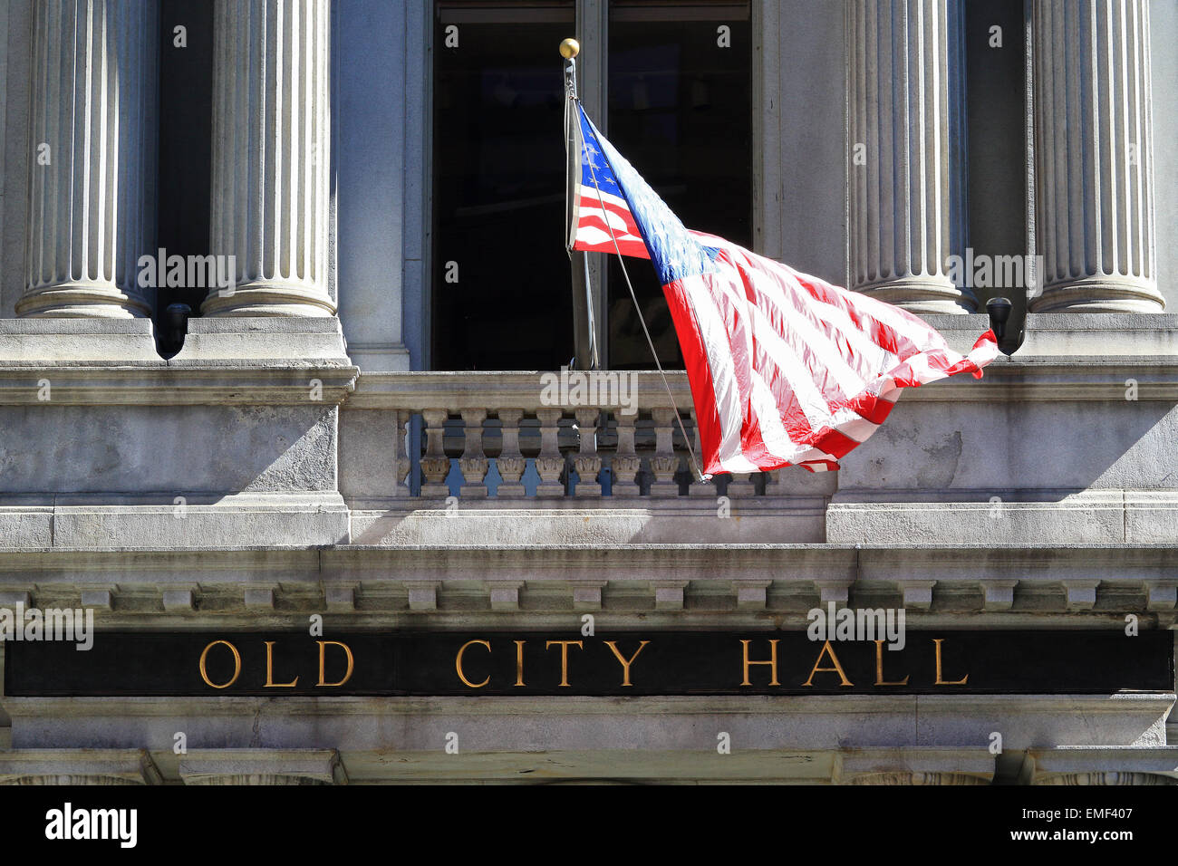 Boston Freedom Trail landmark. The Old City Hall of Boston Massachusetts flying the United States flag. - Stock Image