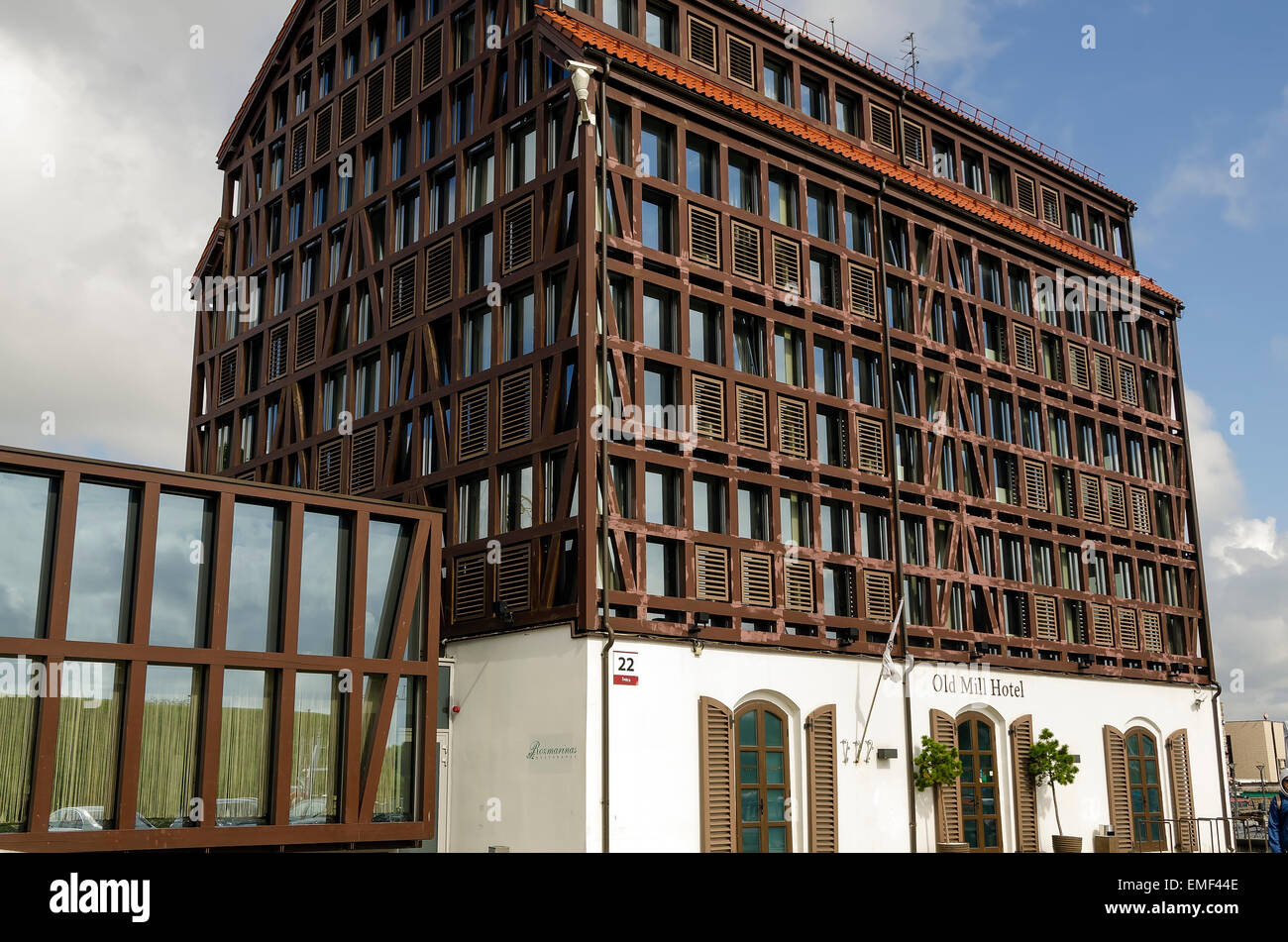 Klaipeda Lithuania Old Mill Hotel fachwerk half-timbered traditional architecture - Stock Image