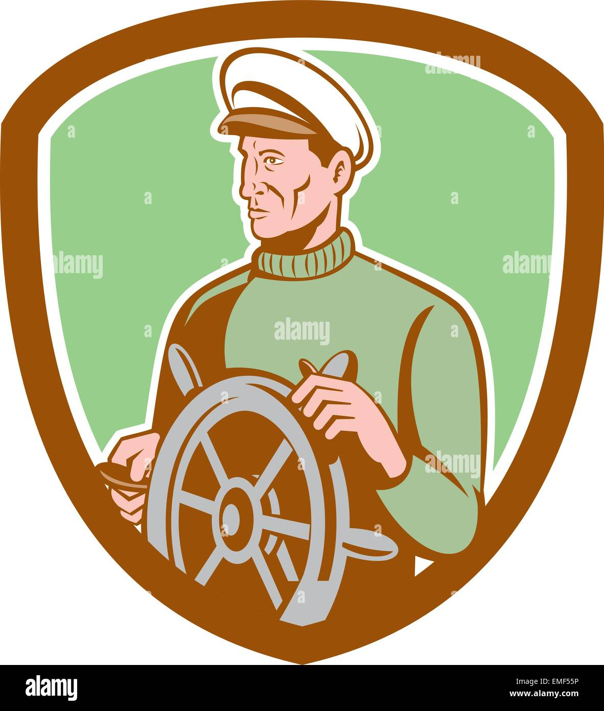 Fisherman Sea Captain Wheel Shield Retro - Stock Image