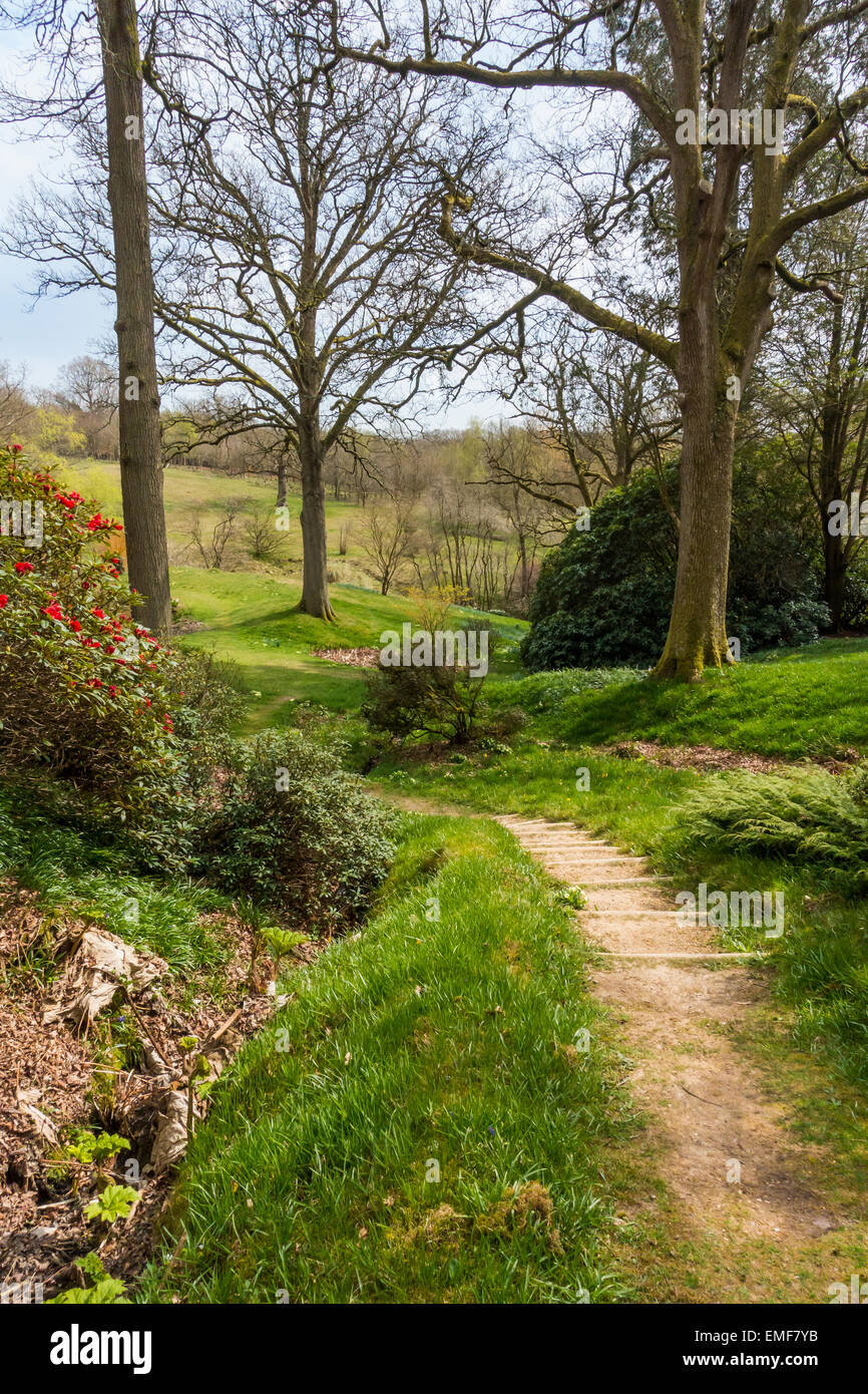 High Beeches Garden Handcross West Sussex UK in April - Stock Image