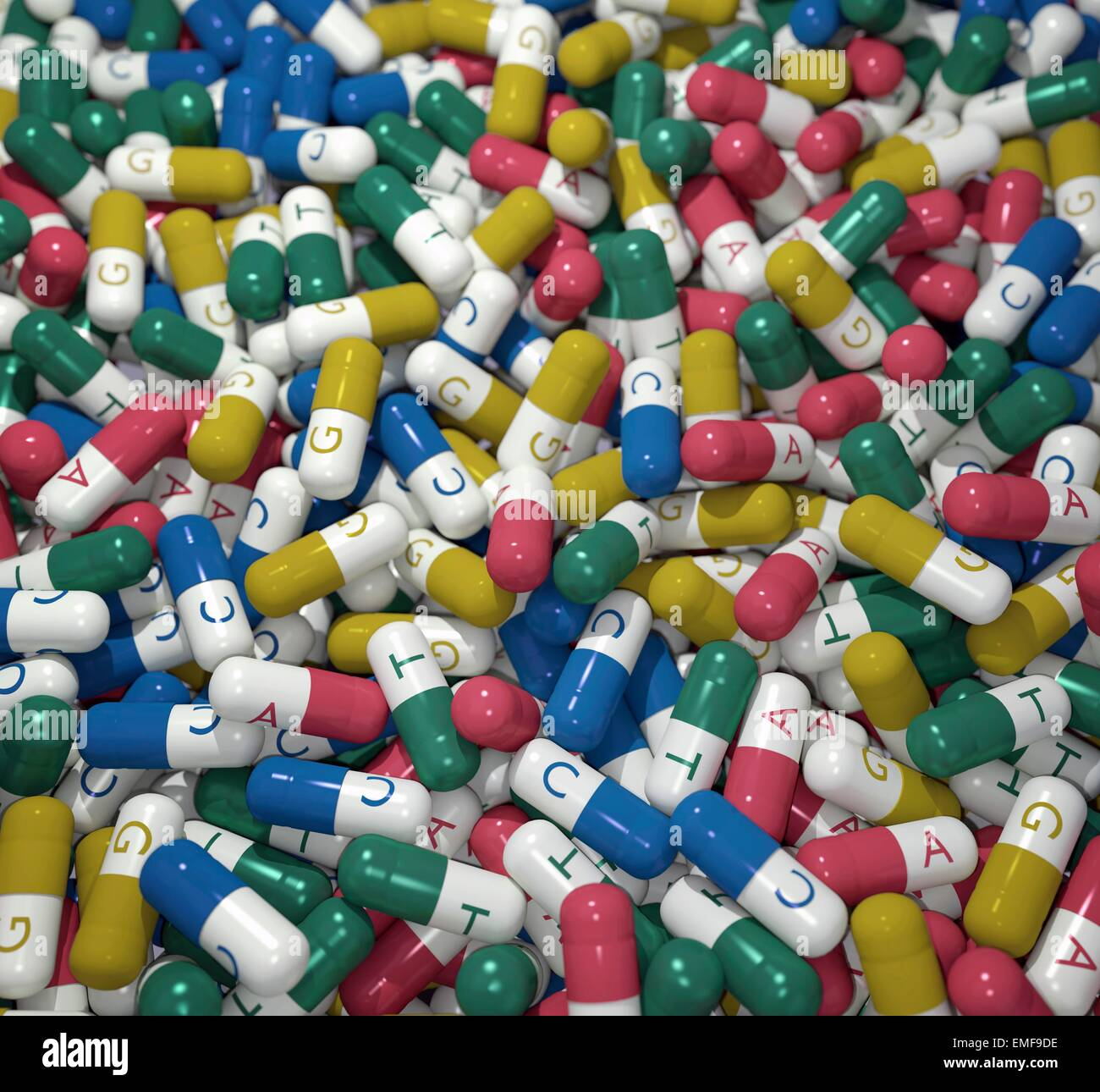 Capsules colour coded and labelled with the four bases of DNA. Conceptual image illustrating the interaction between - Stock Image