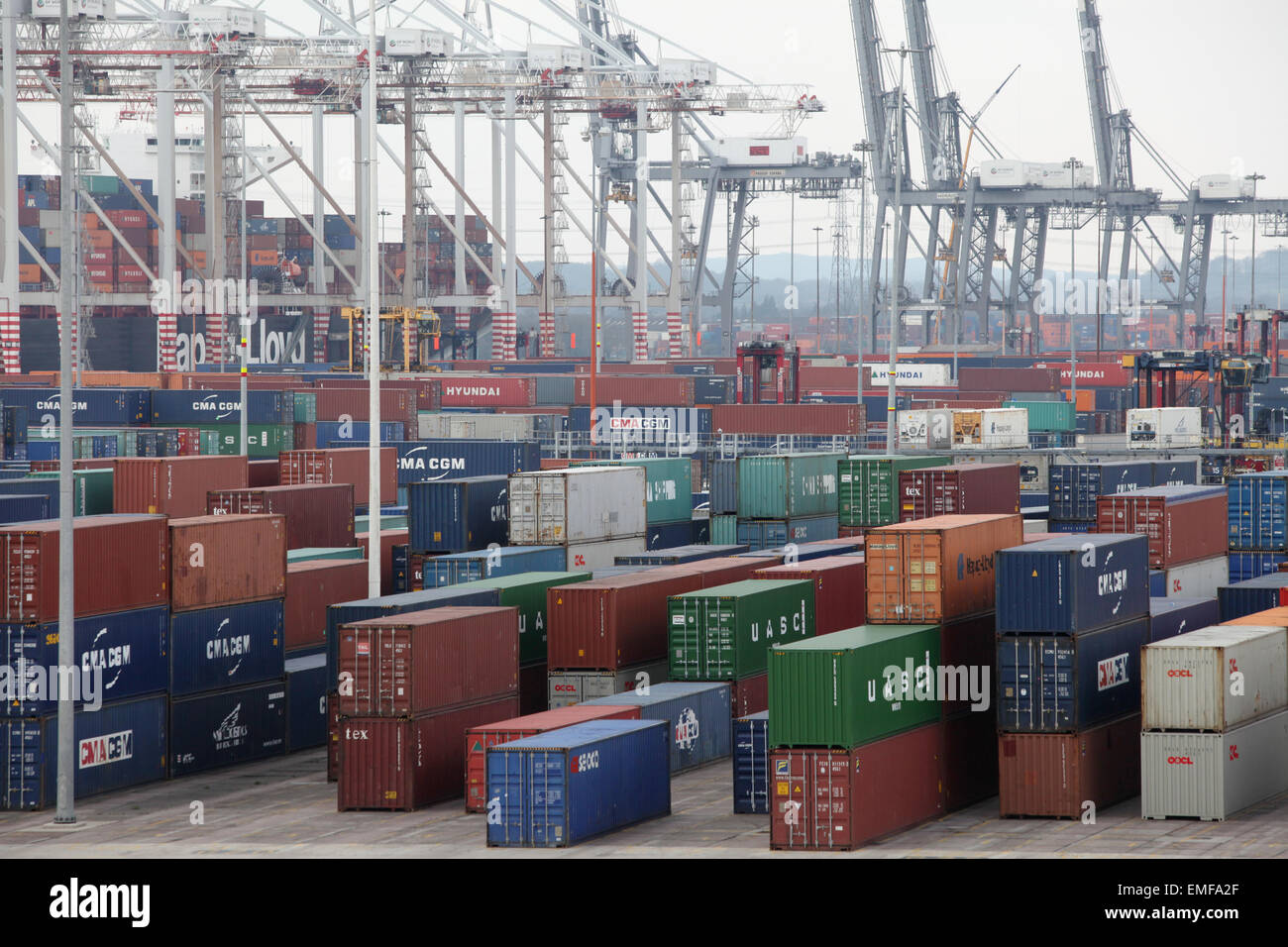 DP World container port in Southampton Docks - Stock Image