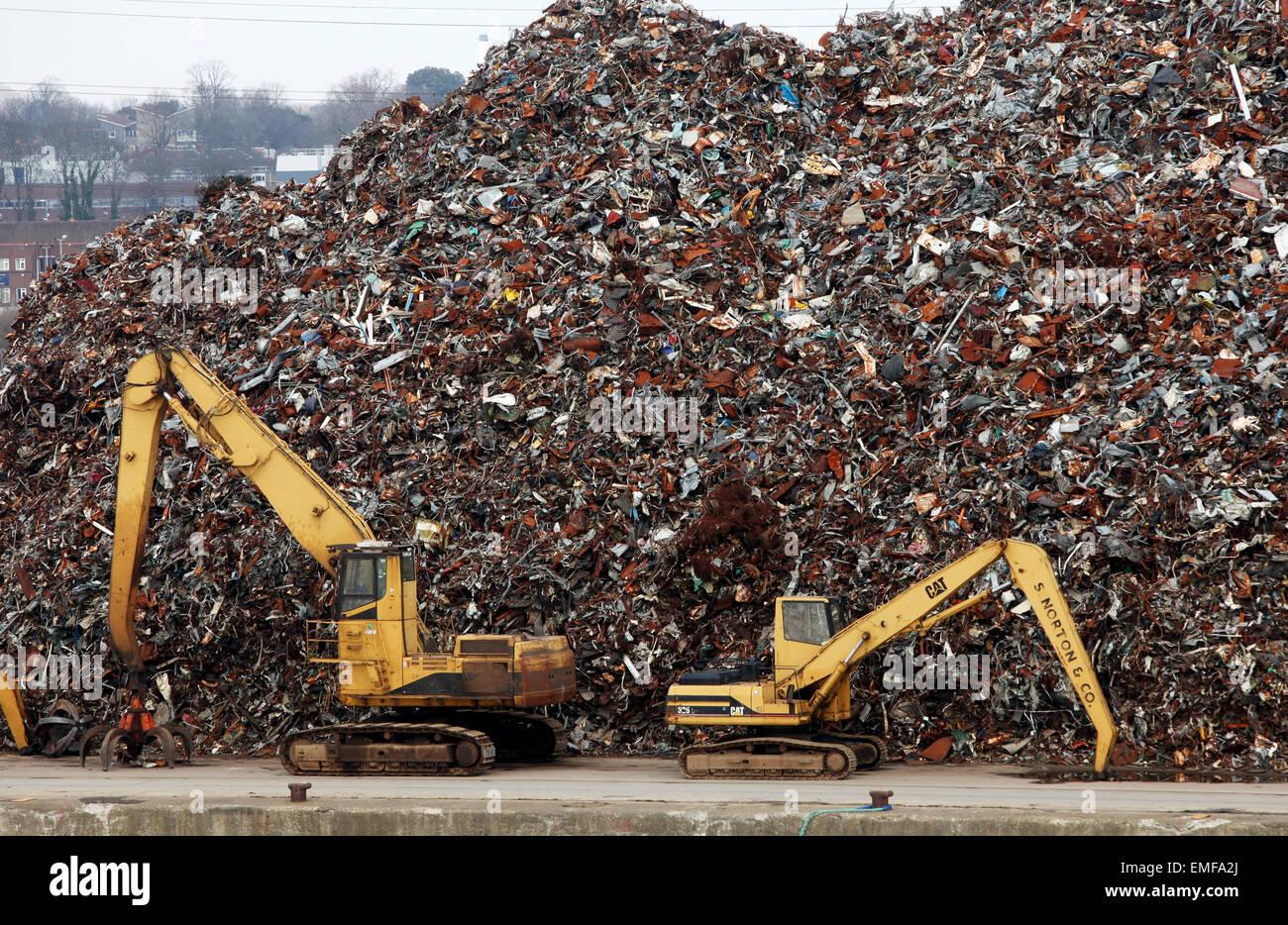 Scrap metal waiting for exportation at Southampton docks - Stock Image