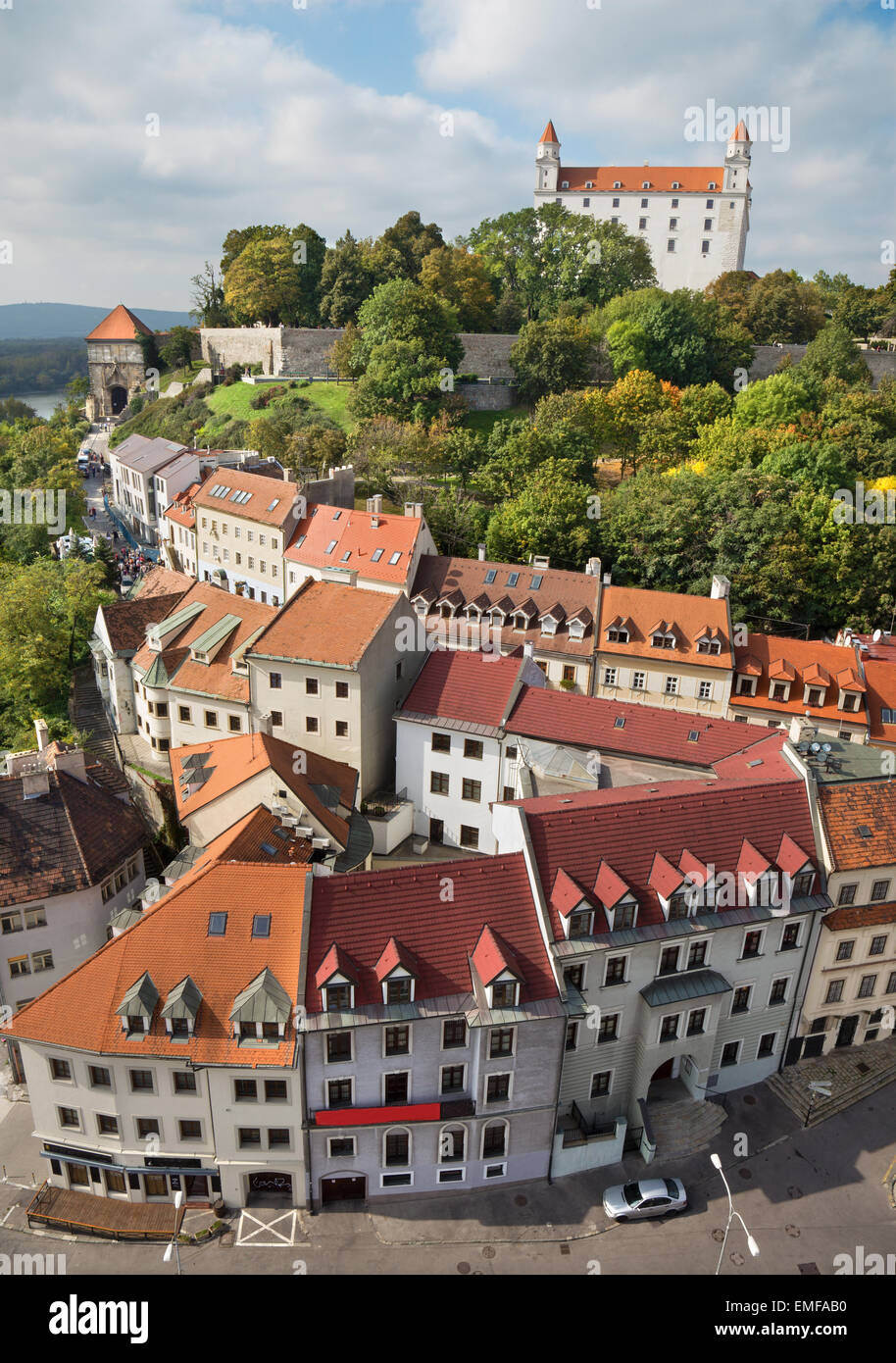 Bratislava - outlook form st. Martins cathedral to the castle - Stock Image