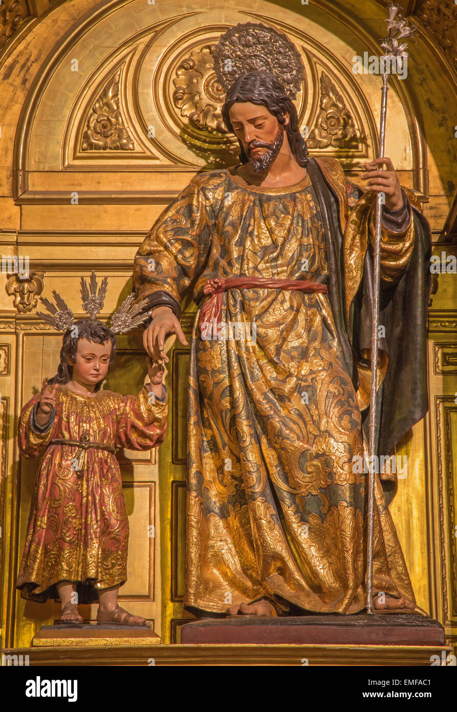 Seville - The polychrome carved statue of st. Joseph in the church Iglesia de Santa Maria Magdalena from 17. cent. - Stock Image