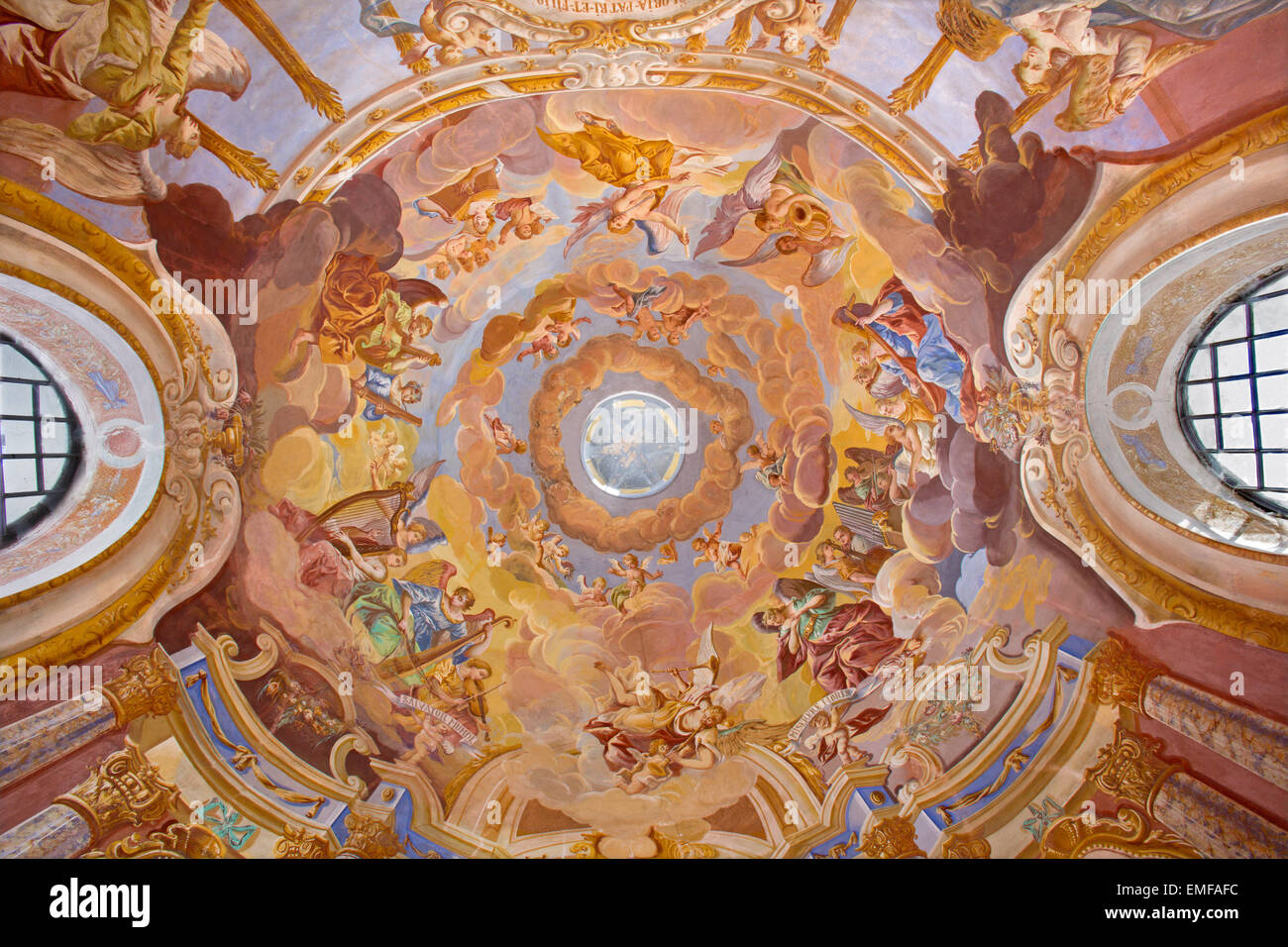 Banska Stiavnica - Angels with the music instruments. Fresco on cupola in the middle church of baroque calvary  - Stock Image