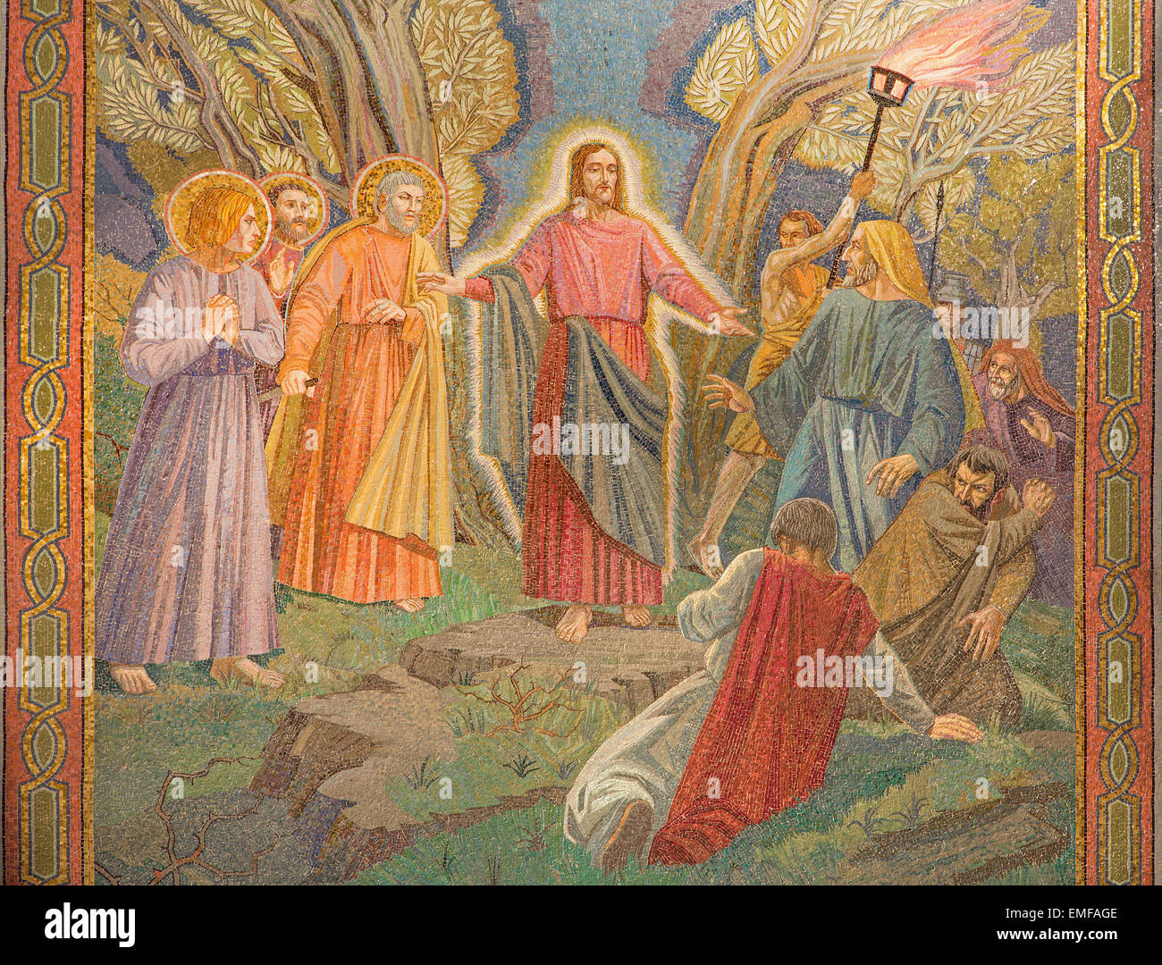 JERUSALEM, ISRAEL - MARCH 3, 2015: The mosaic of the arresting of Jesus in Gethsemane garden in The Church of All Stock Photo