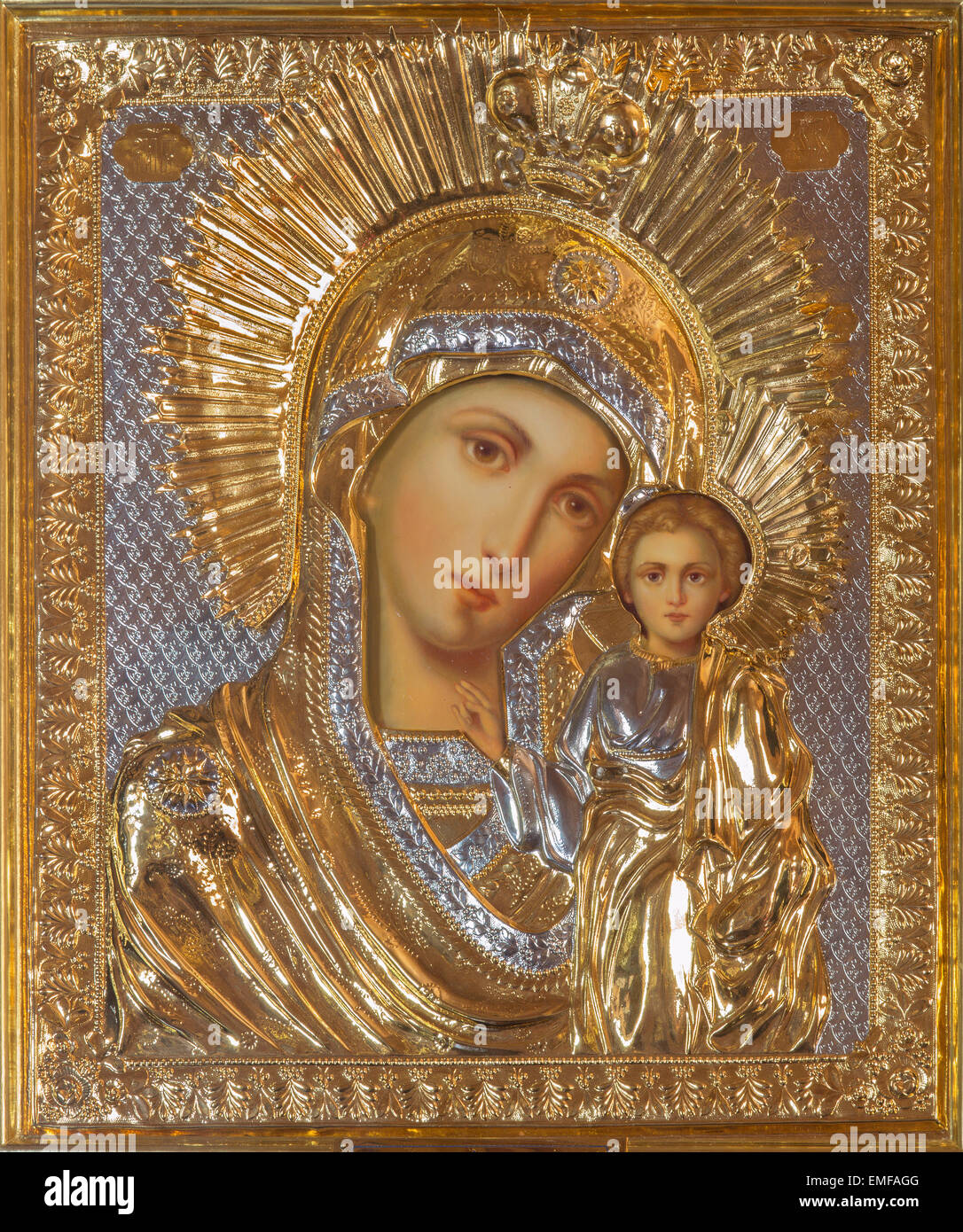 JERUSALEM, ISRAEL - MARCH 5, 2015: The icon of Madonna in Russian orthodox Church of Holy Mary of Magdalene Stock Photo