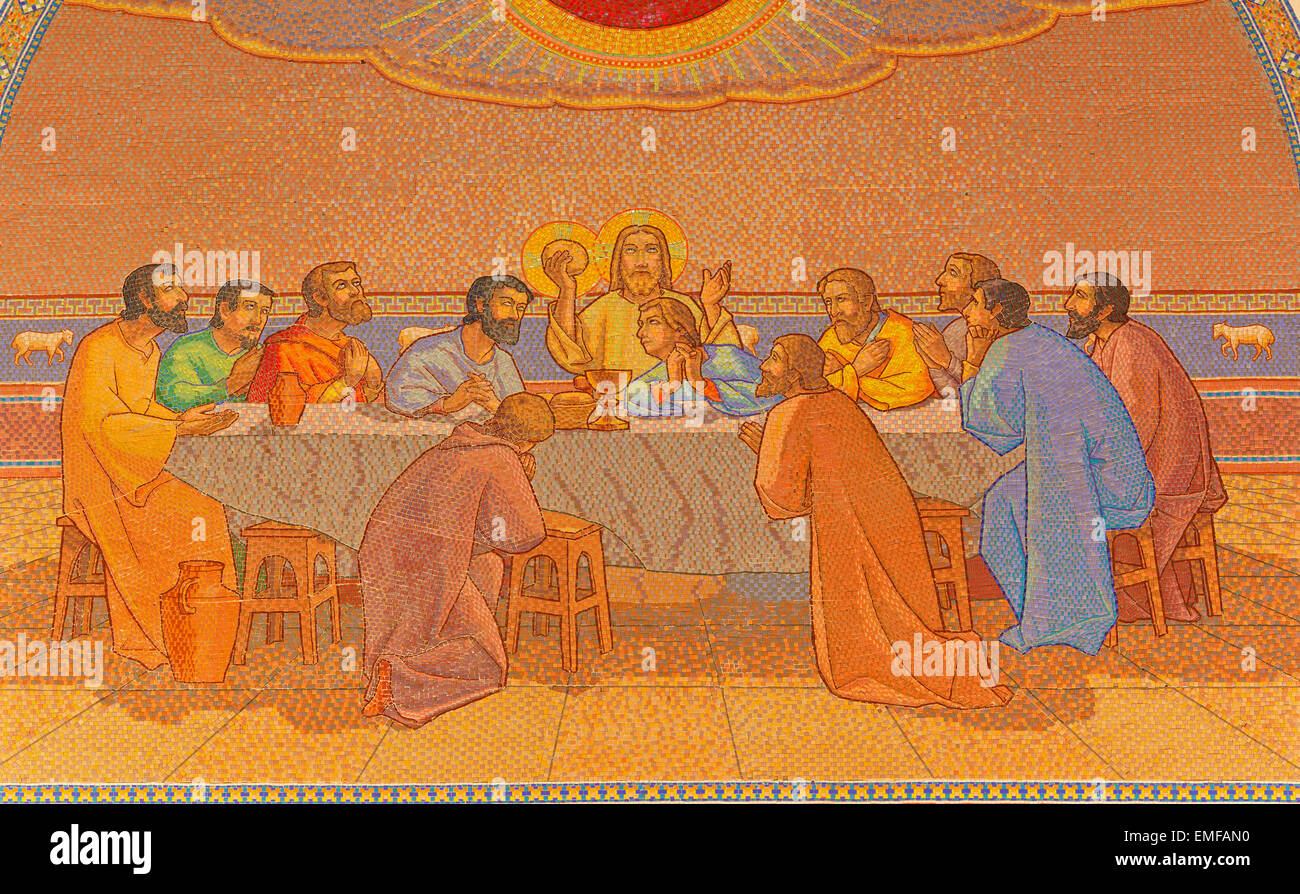 JERUSALEM, ISRAEL - MARCH 3, 2015: The last supper. Mosaic in Church of St. Peter in Gallicantu. Stock Photo