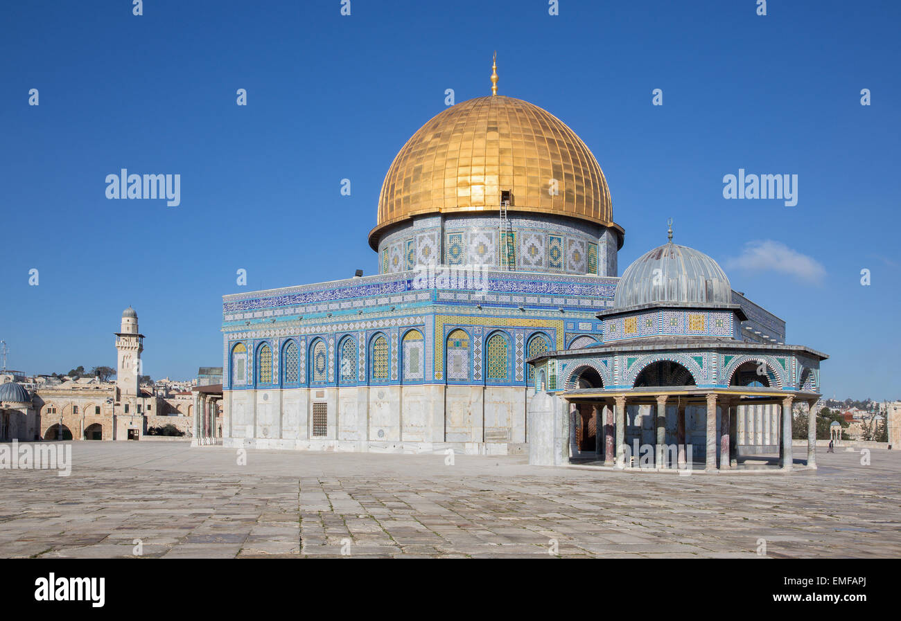 JERUSALEM, ISRAEL - MARCH 5, 2015: The Dom of Rock on the Temple Mount in the Old City. - Stock Image