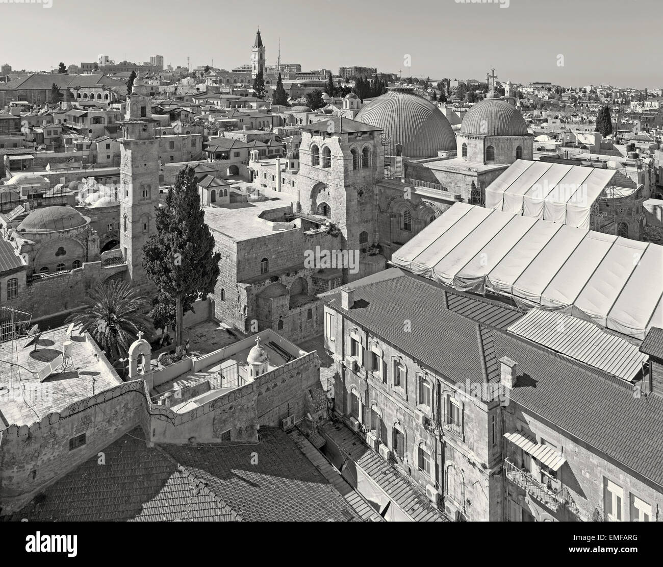 Jerusalem - Outlook over the old town with the Church of Holy Sepulchre. - Stock Image