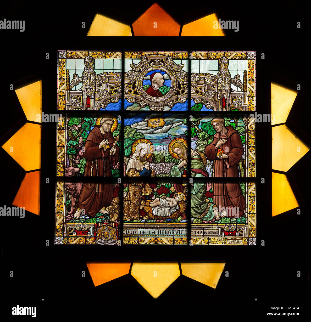 JERUSALEM, ISRAEL - MARCH 5 , 2015: The Nativty scene on the rosette in sanctuary of st. Catharine church Stock Photo