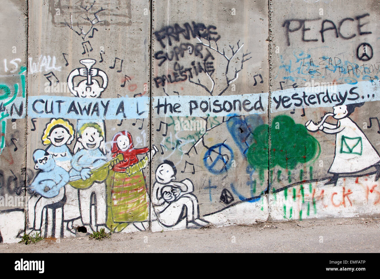 BETHLEHEM, ISRAEL - MARCH 6, 2015: The Detail of graffitti on the Separation barrier. - Stock Image