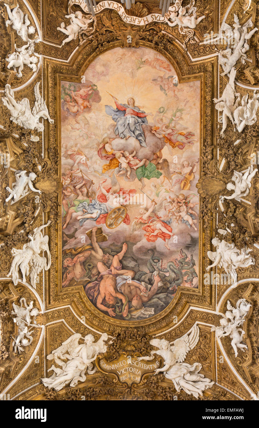 Rome - The ceiling fresco Triumph of Virgin and overthrow of protestants by Giovanni Domenico Cerrini (1675) - Stock Image
