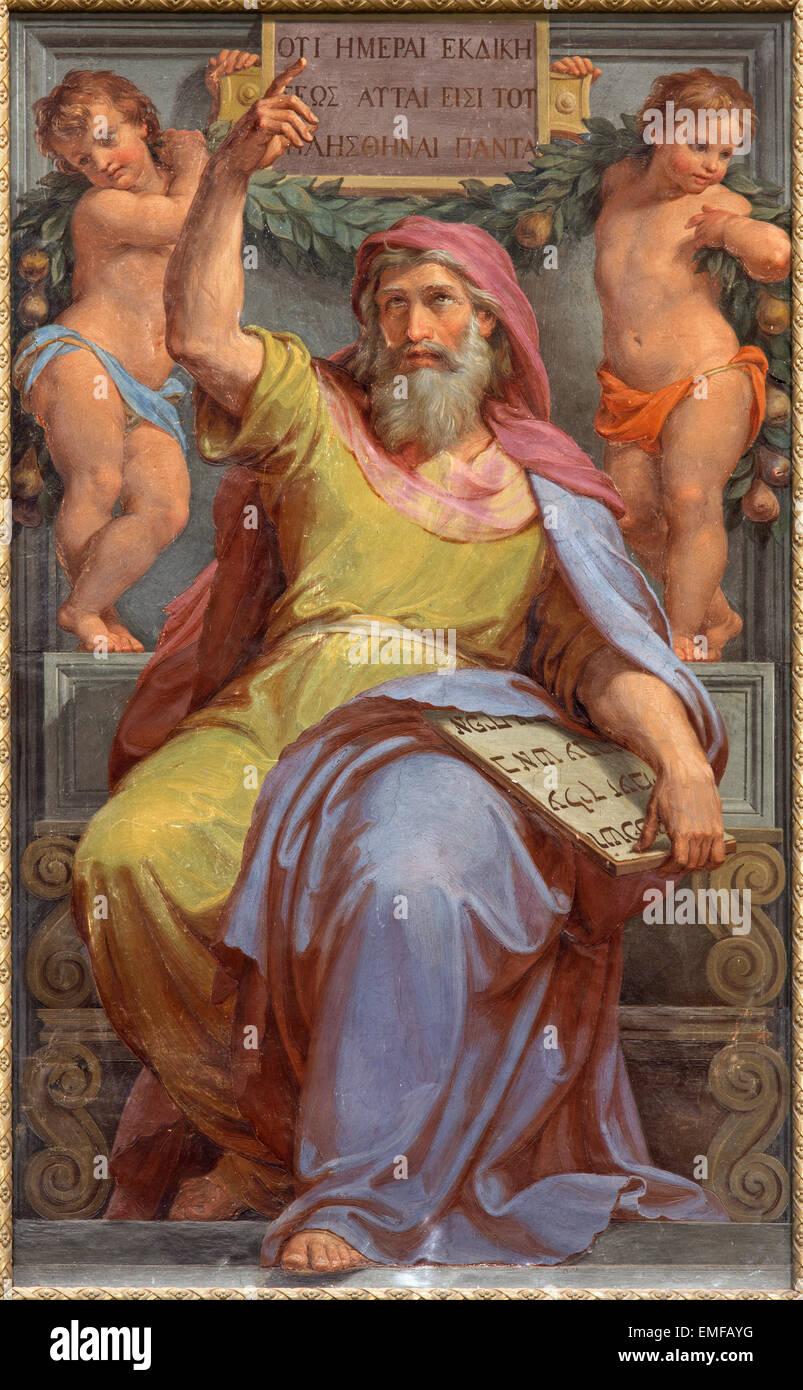 ROME, ITALY - MARCH 27, 2015: The prophet Ezekiel fresco in Basilica di Sant Agostino (Augustine) by Pietro Gagliardi - Stock Image